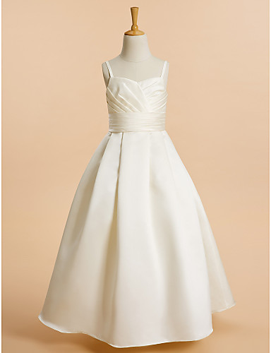 A-Line Floor Length Flower Girl Dress - Satin Sleeveless Spaghetti Straps with Sash / Ribbon by LAN TING BRIDE®