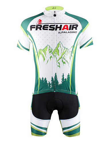 cheap Cycling Clothing-ILPALADINO Men's Short Sleeve Cycling Jersey with Shorts - Green Bike Shorts Jersey Clothing Suit Breathable Quick Dry Ultraviolet Resistant Back Pocket Sports Nature & Landscapes Mountain Bike MTB