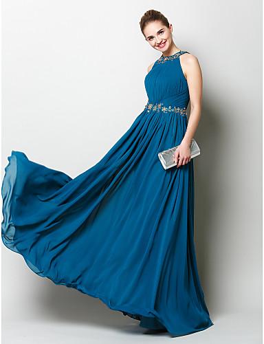 Tube / kolonne Besmykket Gulvlang Chiffon Skoleball / Formell kveld Kjole med Perlearbeid / Appliqué / Drapering av TS Couture®