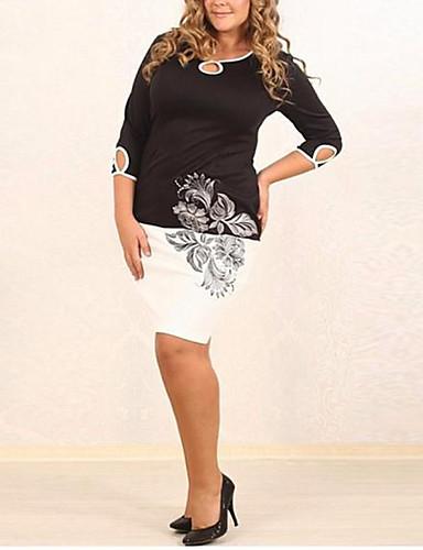 Damen Bodycon Kleid-Lässig/Alltäglich Übergröße Einfach Druck Rundhalsausschnitt Übers Knie Polyester Sommer Mittlere Hüfthöhe