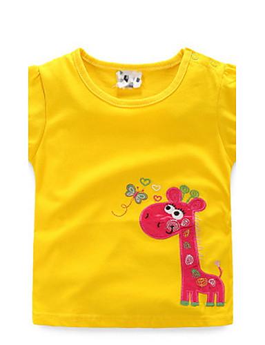 Tyttöjen Painettu T-paita Rento/arki Puuvilla Kesä Lyhyt hiha Kukka-aihe Keltainen Punainen Vihreä Sininen Pinkki
