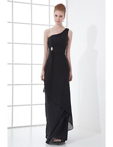 Eng anliegend Ein-Schulter Boden-Länge Chiffon Formeller Abend Kleid mit Kristall Verzierung Seitlich drapiert durch XFLS