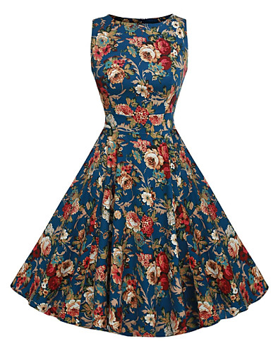 Nais- Vintage Swing Mekko,Kukka Polvipituinen Pyöreä kaula-aukko Polyesteri