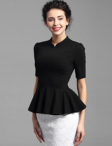 Baoyan® Damen Ständer 1/2 Länge Ärmel T-Shirt Schwarz-150655