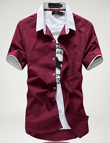 Herrn Einfarbig Baumwolle Hemd