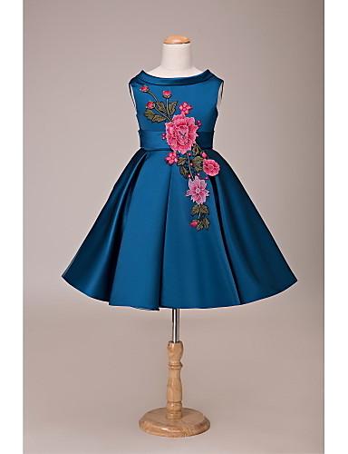 Báli ruha Rövid / mini Virágoslány ruha - Csipke Szatén Ujjatlan Ékszer val vel Rátétek Csokor Pántlika / szalag által LAN TING Express