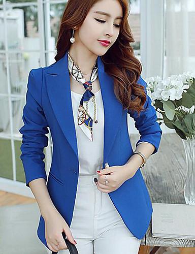 Damen Solide Einfach Street Schick Arbeit Blazer,Hemdkragen Frühling Langarm Standard Polyester