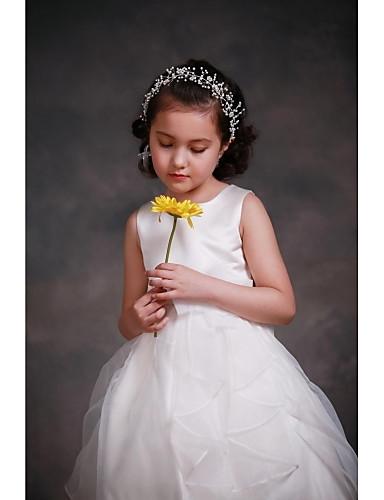 A-line Knielänge Blumenmädchen Kleid - Satin Tüll ärmellosen Juwel Hals mit Blume