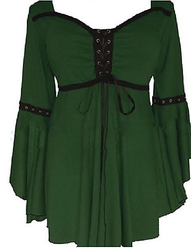 Damen Patchwork Einfach Übergröße Lässig/Alltäglich Bluse,V-Ausschnitt Sommer Langarm Polyester Dünn