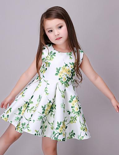 Menina de Vestido,Casual Raiom Verão Verde