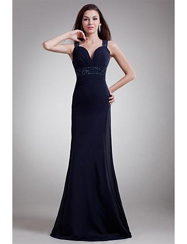 Eng anliegend Sweetheart Boden-Länge Chiffon Formeller Abend Kleid mit Perlenstickerei Seitlich drapiert durch TS Couture®