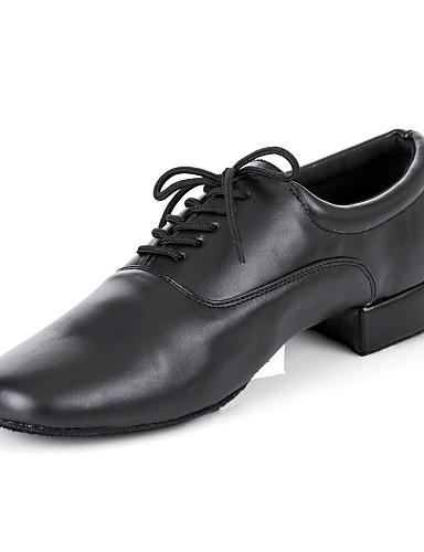billige Bryllup- & Eventsalg-Herre Dansesko Kunstlær Moderne sko / Ballett Snøring Oxford Flat hæl Kan spesialtilpasses Svart / Lær / Lær / EU43