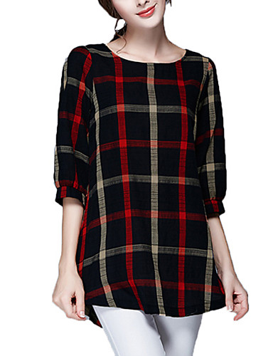 Polyester Bluse - Rutet, Racerrygg Dame