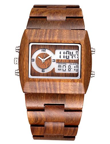 Herren Modeuhr Quartz LED Kalender Chronograph Duale Zeitzonen Armbanduhren für den Alltag Holz Band Schwarz Rot Grün Schwarz Braun Rot