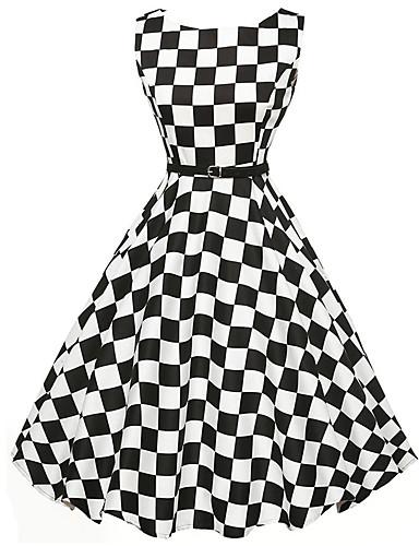 קפלים, משובץ דמקה - שמלה גזרת A סקייטר\מחליקה על הקרח בגדי ריקוד נשים