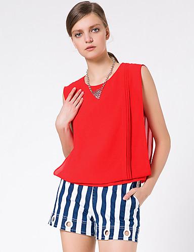Goelia® Damen Rundhalsausschnitt Ärmellos Shirt & Bluse Rot-164W0A110