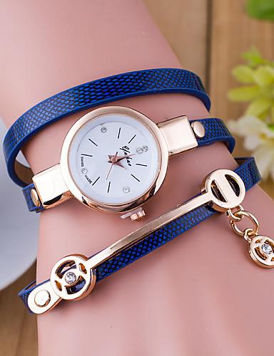 Damen Armband-Uhr Schlussverkauf Leder Band Charme / Modisch Schwarz / Weiß / Blau / Ein Jahr / Tianqiu 377