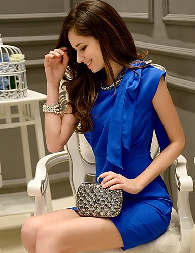 Damen Kleid-Hülle Street Schick Solide Übers Knie Polyester Asymmetrisch