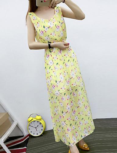 Damen Chiffon Kleid-Lässig/Alltäglich Boho Street Schick Blumen U-Ausschnitt Maxi Ärmellos Polyester Sommer Hohe Hüfthöhe Unelastisch