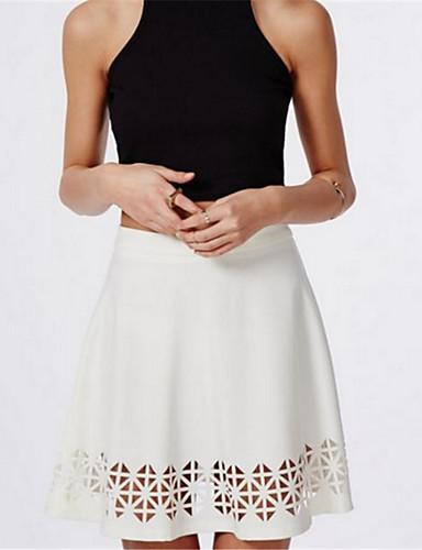 Damen Street Schick Mittlere Hüfthöhe Mini Röcke A-Linie,Ausgeschnitten einfarbig