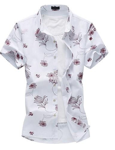 Herrn Blumen Übergrössen Hemd, Klassischer Kragen Baumwolle