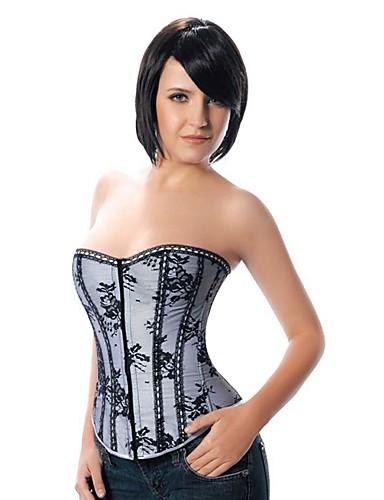 Serre Taille / Corset / Grande Taille Vêtement de nuit Femme,Sexy / Push-up / Lace / Imprimé / Rétro Fleur-Moyen Nylon / Polyester Gris