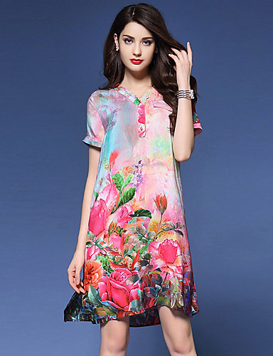 דפוס שמלה משוחרר סגנון סיני בגדי ריקוד נשים