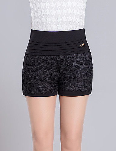 Femme Grandes Tailles Jeans Pantalon,simple Décontracté / Quotidien Couleur Pleine Taille Haute Elasticité Polyester Micro-élastique Eté
