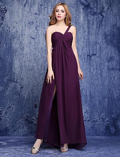a-line en skulder gulvlengde chiffon brudepike kjole med side draping av shiduoli
