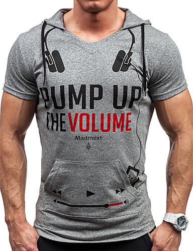 Masculino Camiseta Esportes Casual Letra Algodão Poliéster Com Capuz Manga Curta