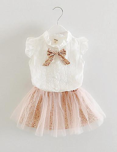 סטים כותנה חוטי זהורית קיץ שרוול קצר יום יומי\קז'ואל פרחוני בנות סט של בגדים