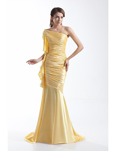 בתולת ים \ חצוצרה כתפיה אחת שובל סוויפ \ בראש סאטן נמתח ערב רישמי שמלה עם קפלים על ידי TS Couture®