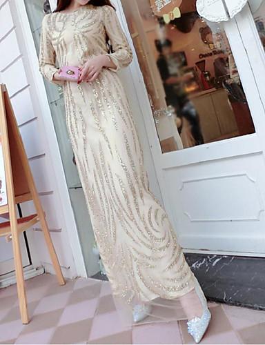Damen Kleid-Hülle Einfach Patchwork Maxi Polyester Rundhalsausschnitt