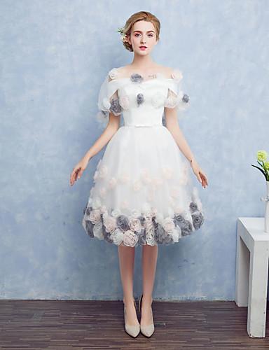 Ballkleid Prinzessin Illusionsausschnitt Tee-Länge Satin Tüll Cocktailparty Abiball Kleid mit Schleife(n) Blume durch TS Couture®