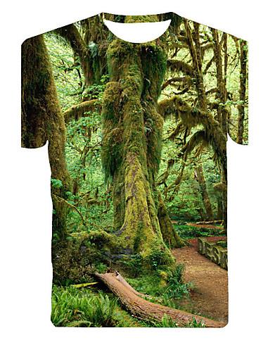 Masculino Camiseta Algodão / Poliéster Estampado Manga Curta Casual-Verde