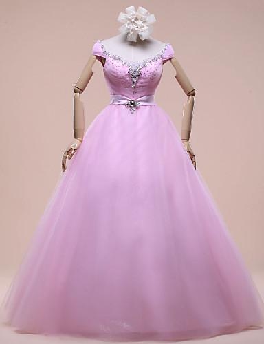 De Baile Longo Cetim Tule Cetim Elástico Evento Formal Vestido com Detalhes em Cristal de SG