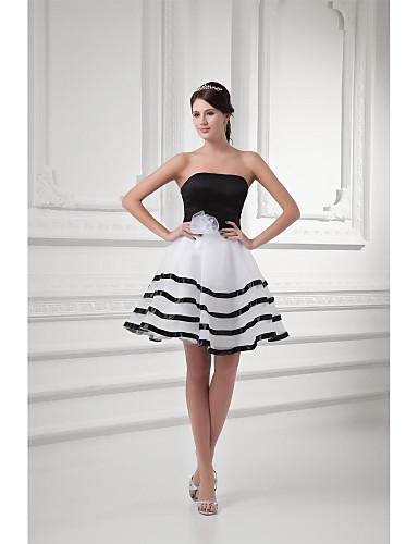 נשף צמוד ומתרחב סטרפלס קצר \ מיני אורגנזה מסיבת קוקטייל נשף שמלה עם פפיון(ים) פרח(ים) סרט על ידי TS Couture®