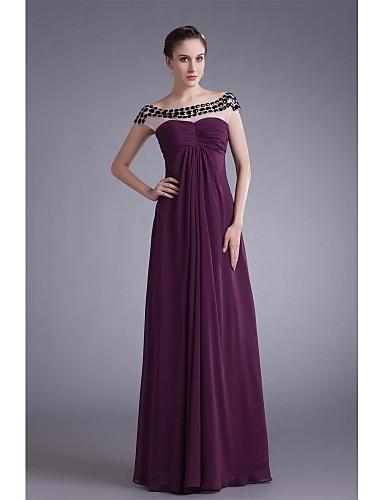 uma linha de colher de pescoço comprimento do chão chiffon mãe do vestido de noiva com cristal detalhando lateral draping por xfls