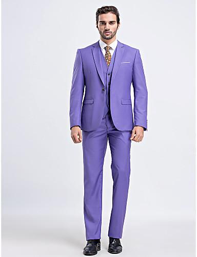 Solid Slim Fit Poliester Viscoză Costum - Cresătură Slim Un singur rând, un nasture