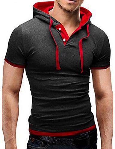 お買い得  3/20-男性用 スポーツ Tシャツ ベーシック フード付き カラーブロック / 半袖 / タイト