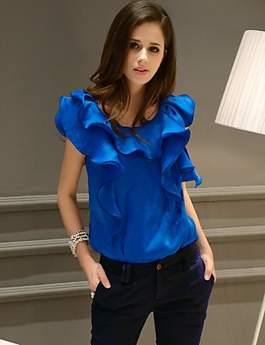 dabuwawa camisa azul sólida das mulheres / branco, gola gola sem mangas