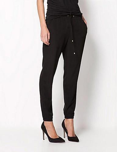 Mulheres Moda de Rua Cintura Média Micro-Elástica Harém Jeans Calças, Algodão Poliéster Verão Sólido