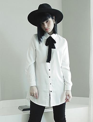 Mulheres Camisa Casual Simples Primavera,Sólido Branco / Verde Algodão Laço Manga Longa Fina