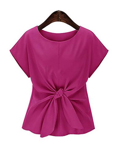 Tee-shirt Femme,Couleur Pleine Décontracté / Quotidien Grandes Tailles simple Eté Manches Courtes Col Arrondi Polyester Moyen