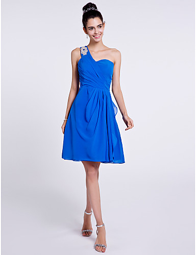 A-Line One Shoulder Knee Length Chiffon Bridesmaid Dress with Beading Side Draping by LAN TING BRIDE®
