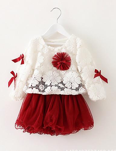 Baby Mädchen Kleid Party Solide Baumwolle Polyester Frühling Sommer Herbst Langarm Spitze Purpur Grün Rosa Wein