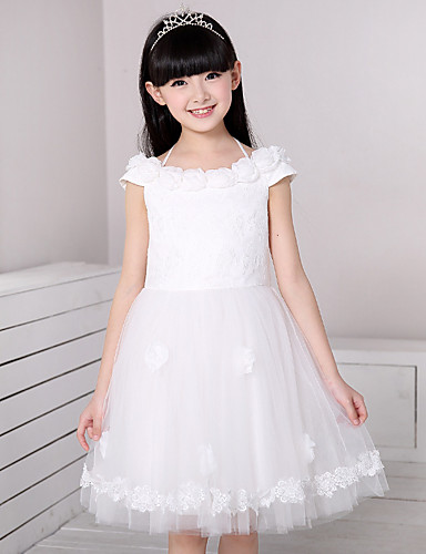 3d6e69b6d07 A-line Knee-length Flower Girl Dress - Cotton   Satin   Tulle Short Sleeve  Off-the-shoulder with Flower(s)   Lace 5131369 2019 –  59.99