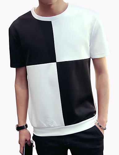 Menn Fritid / Arbeid / Sport / Plusstørrelse Fargeblokk T-skjorte,Spandex Kortermet-Hvit