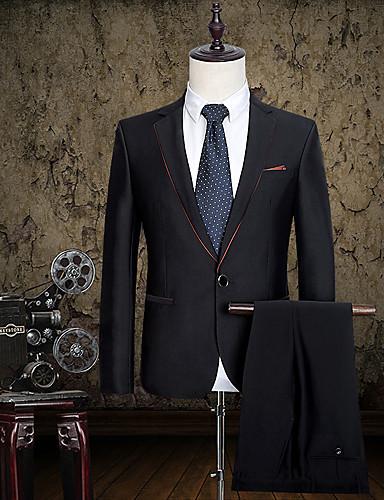 חליפות גזרה צרה פתוח Single Breasted One-button כותנה מוצק כיס ישר ללא (חלק קדמי שטוח) שחור ללא (חלק קדמי שטוח)