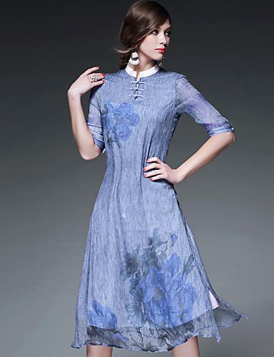 AFOLD® 女性 スタンド 五分袖 Midi ドレス-5376